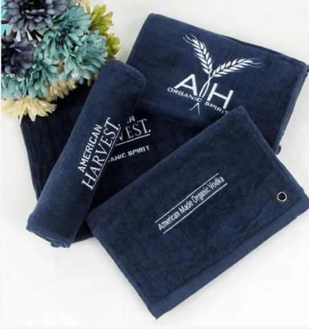 Personalized Absorbent Cotton Sports Golf Hand Towel with Logo Embroidery