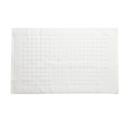 Checkered style jacquard cotton mat-white